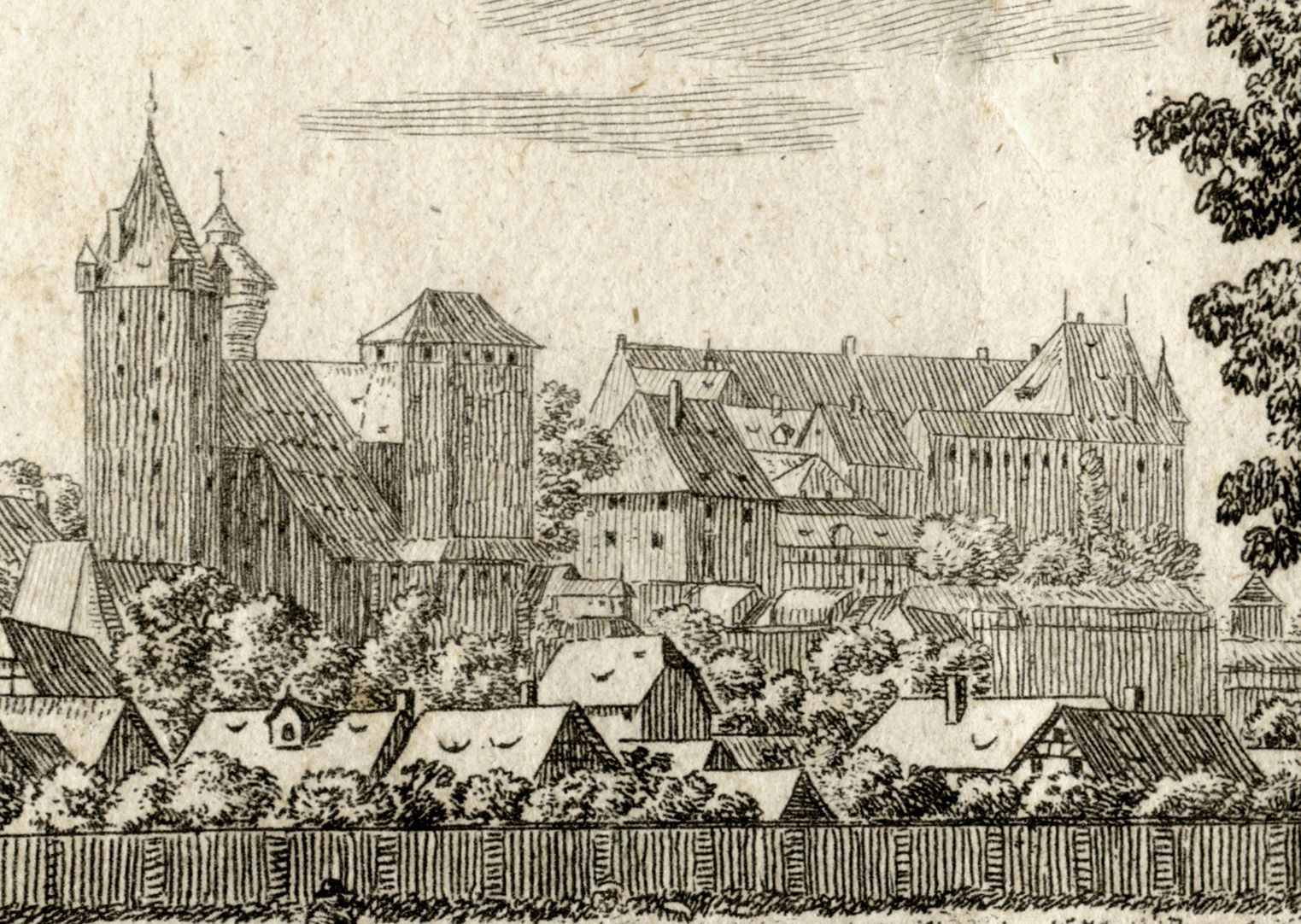 The castle in Nuremberg, seen from Judenbühl View of the castle from the northeast