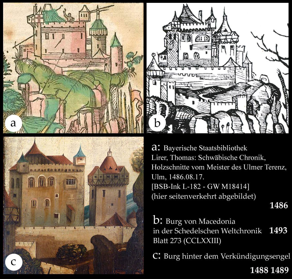 Ständetafel und Verkündigungsengel Das gleiche Burgenmotiv wurde leicht variiert auch im Holzschnitt verwendet.