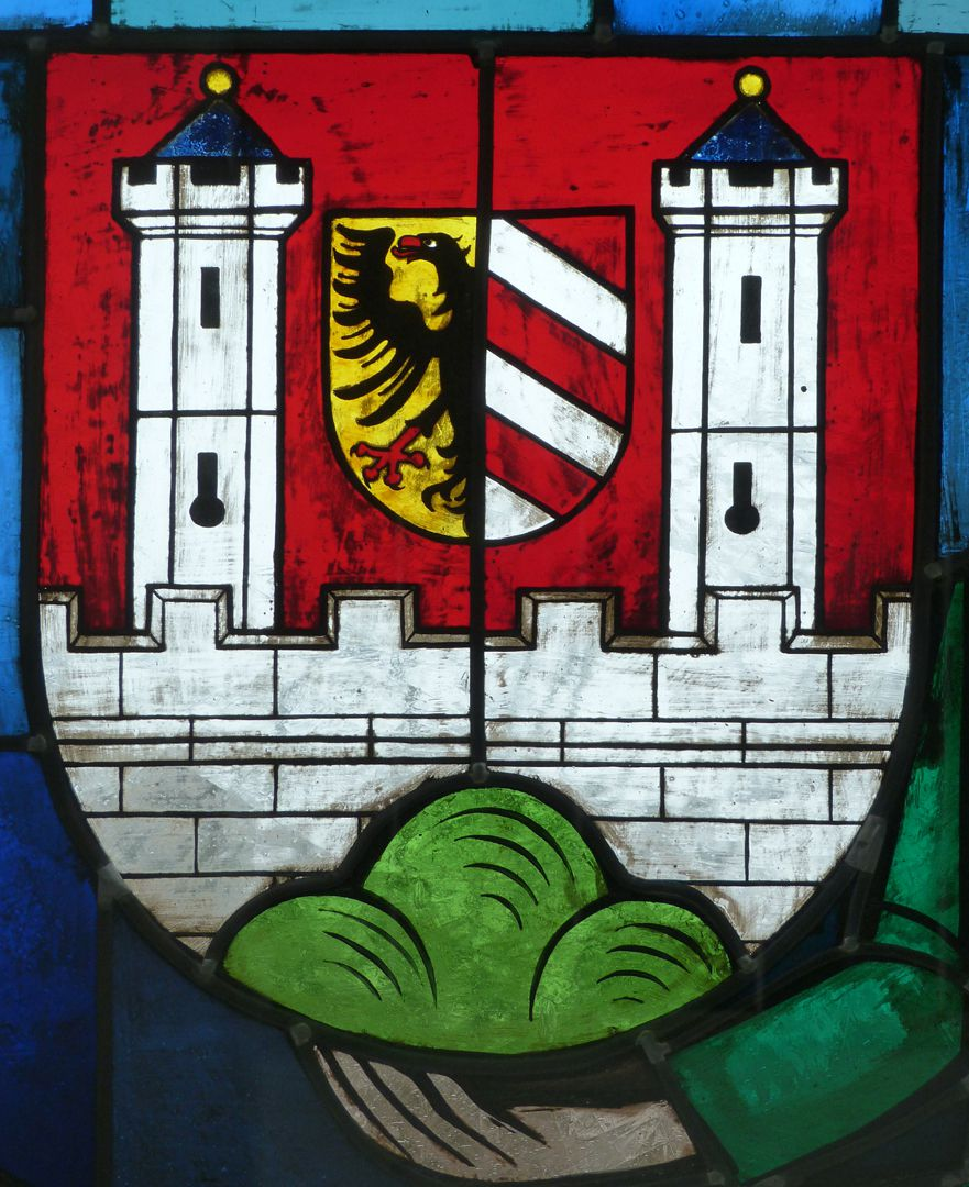 Stained glass windows on the city history Coat of arms of the City of Lauf