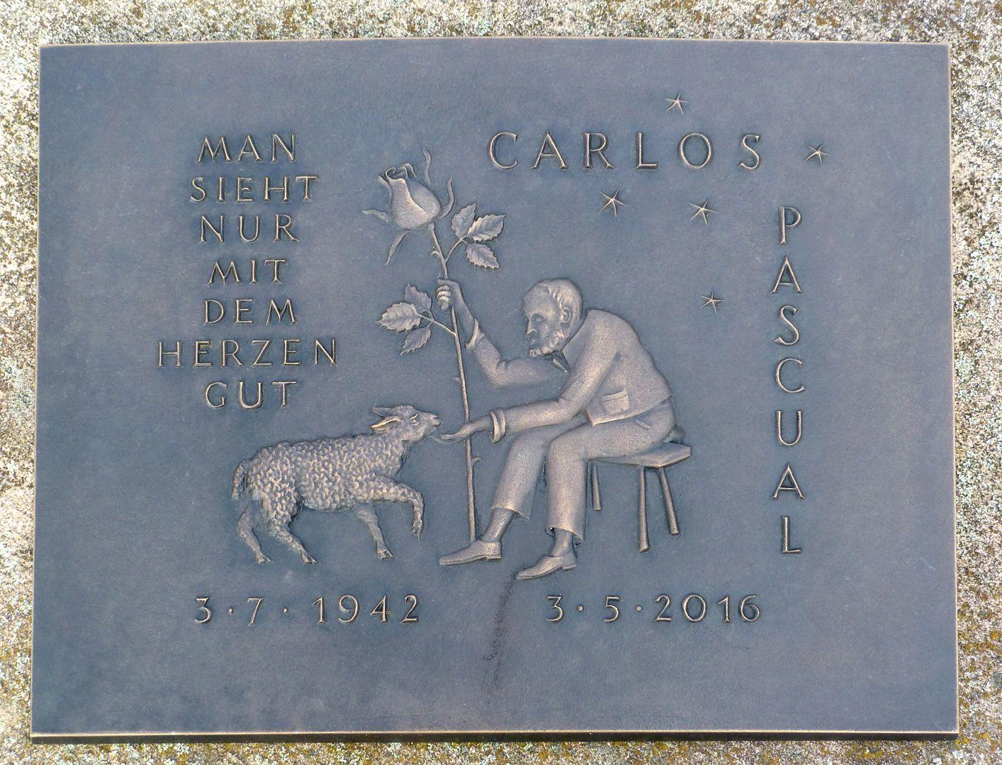 Carlos Pascual Grabstätte Epitaph mit Inschrift