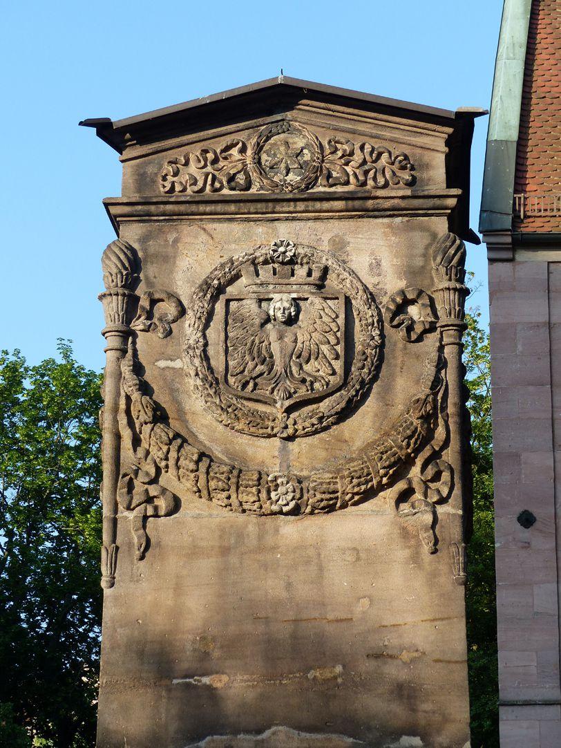 Dürer-Pirckheimer-Fountain Pylon with the City´s Coat of Arms, north side