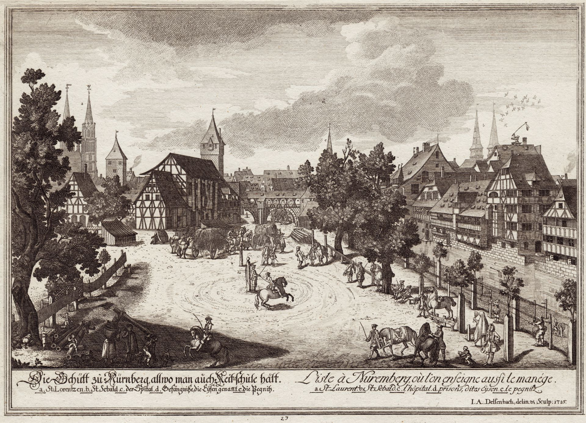 The island called Schutt in Nuremberg where Riding School is held General view