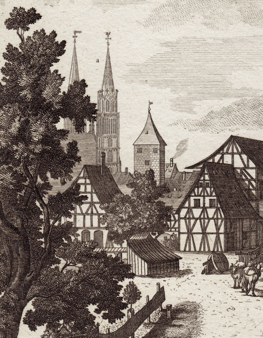 The island called Schutt in Nuremberg where Riding School is held Detail view with St. Lorenz-Church