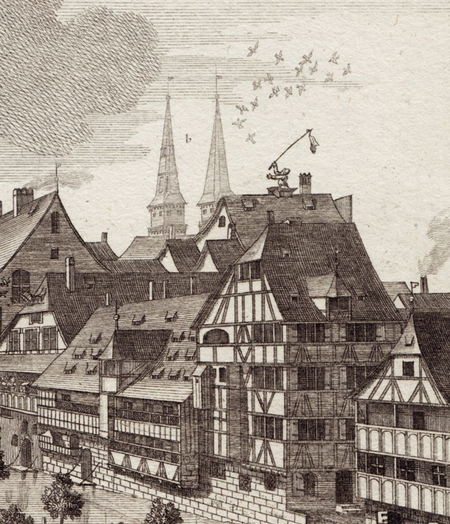 The island called Schutt in Nuremberg where Riding School is held Detail with buildings on the banks of the river and the spires of St. Sebald Church