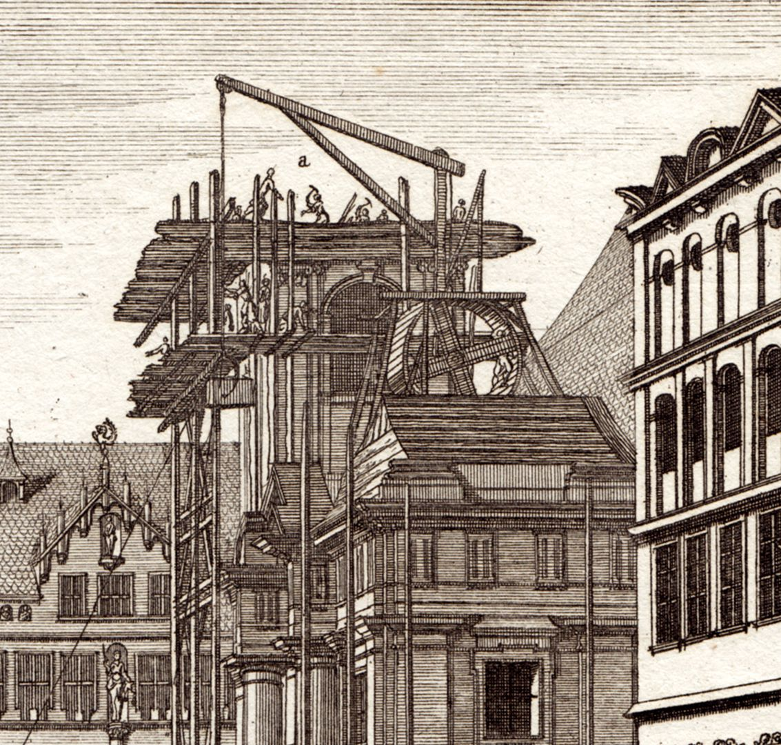 Prospect of the place called Dilling´s Court in Nuremberg Details of the scaffolding on Egidien-Church
