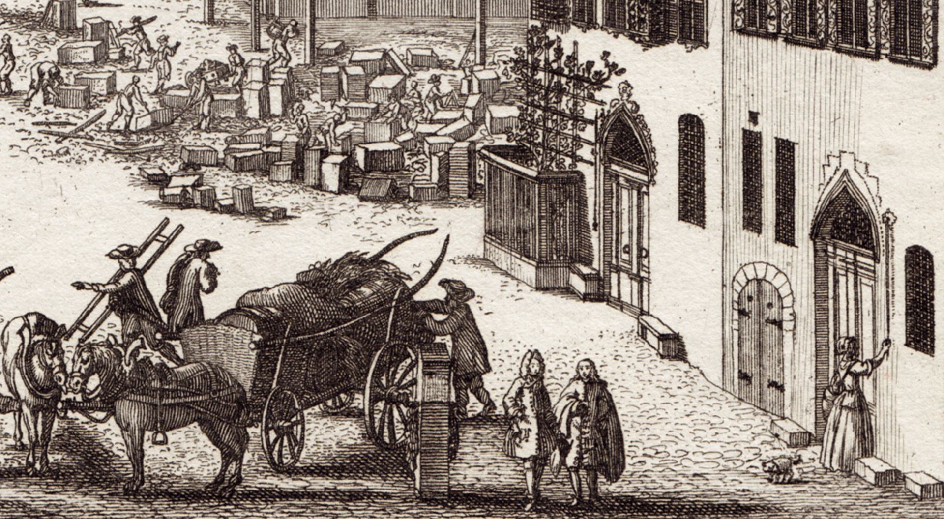 Prospect of the place called Dilling´s Court in Nuremberg Detail with street scene