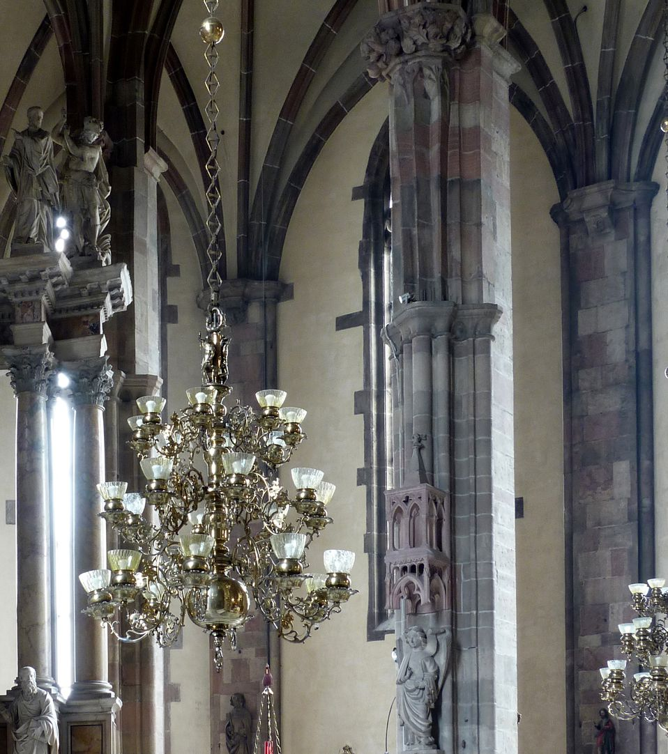 Chandelier of the Blacksmiths` Guild in Bolzano Chandelier in the church hall