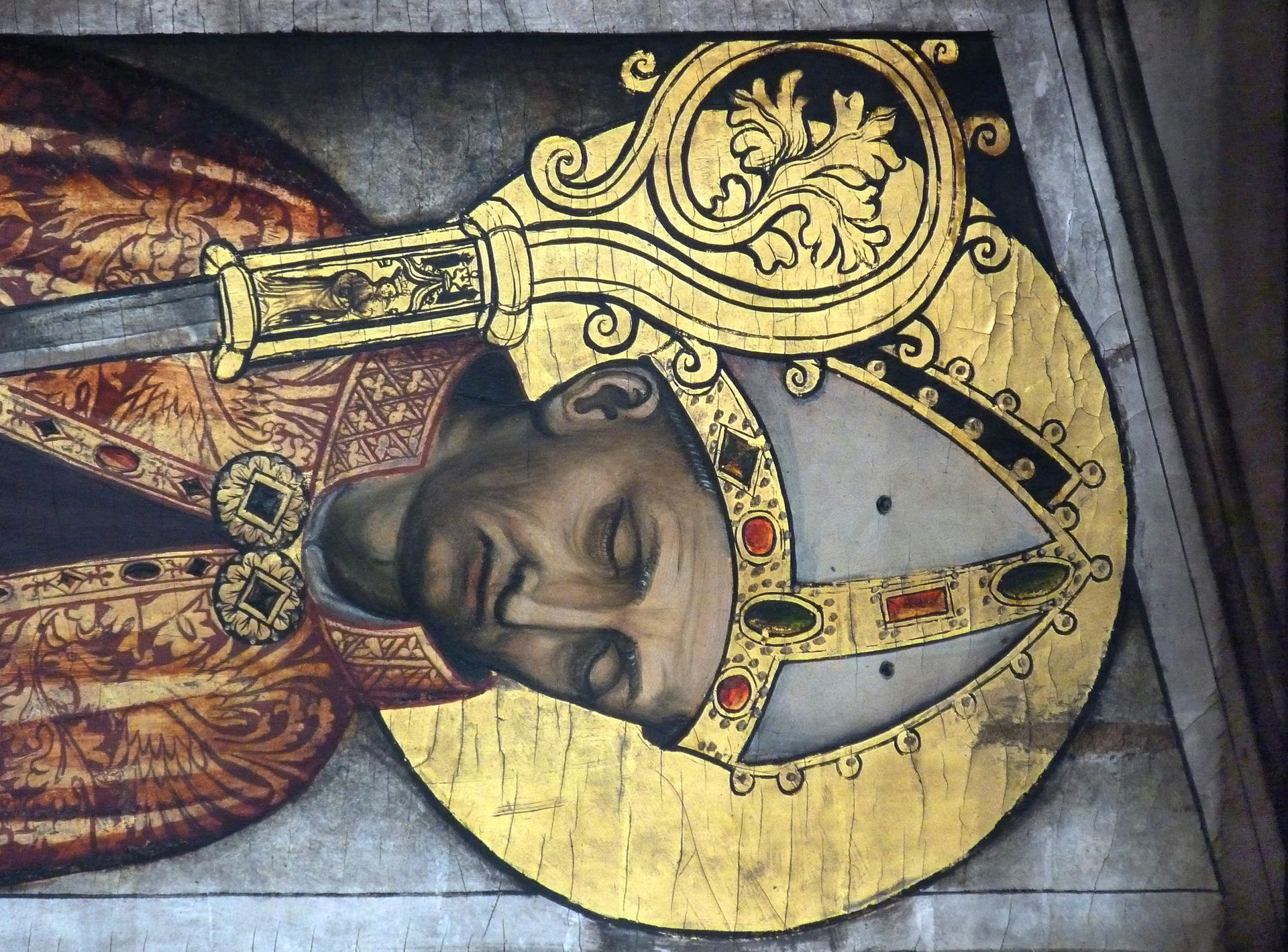 "Deocarusaltar Predella, ""Portrait des heiligen Deocarus"""