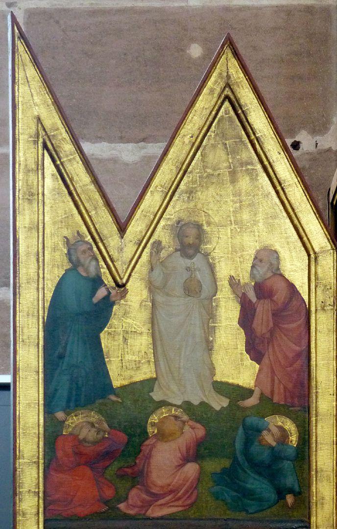 Deocarusaltar linker Schreinflügel, Verklärung Christi zwischen Moses und Elias
