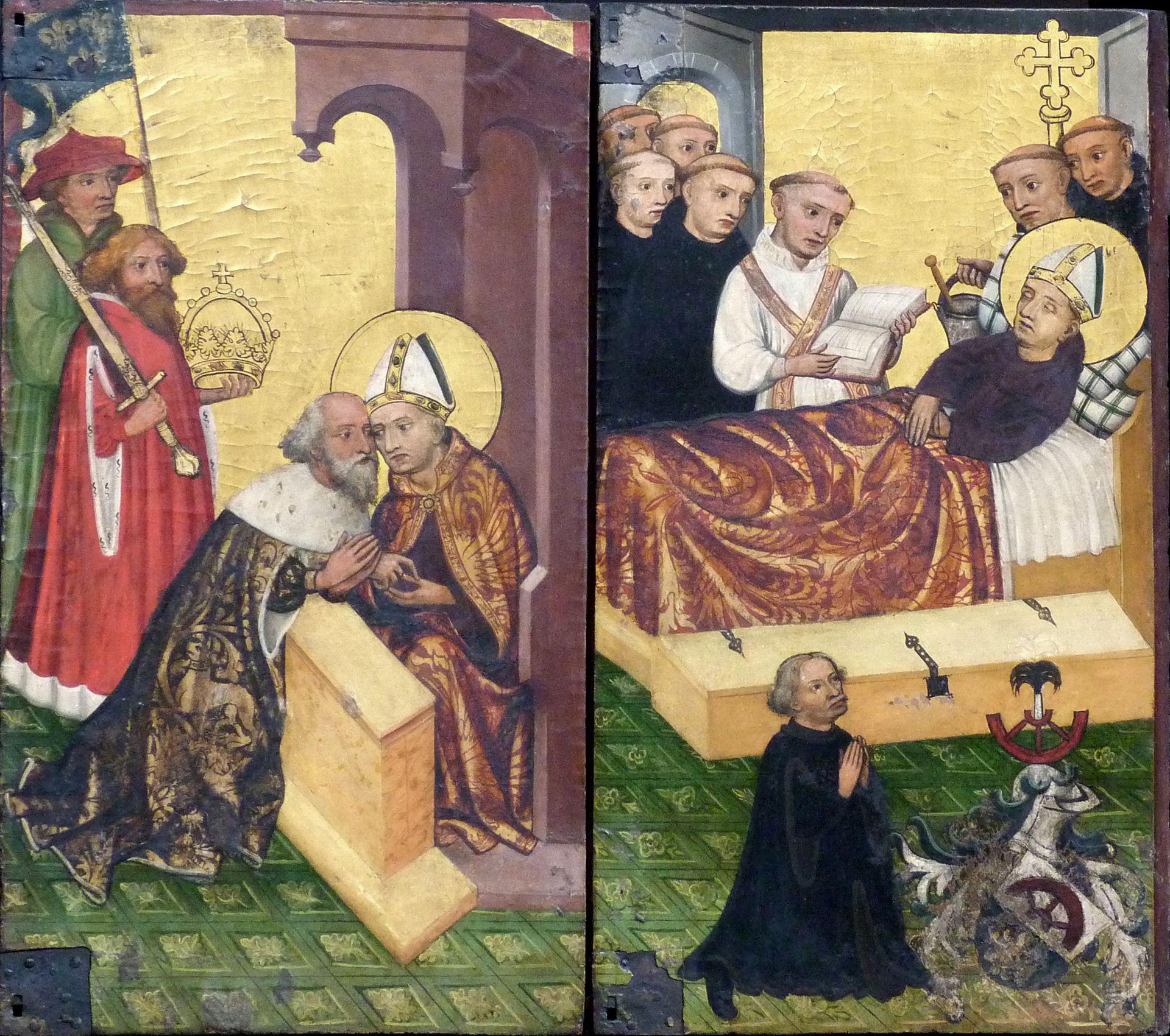 Deocarusaltar linker Predellaflügel, Beichte von Karl dem Großen und Tod des Deocarus mit kniender Stifterfigur