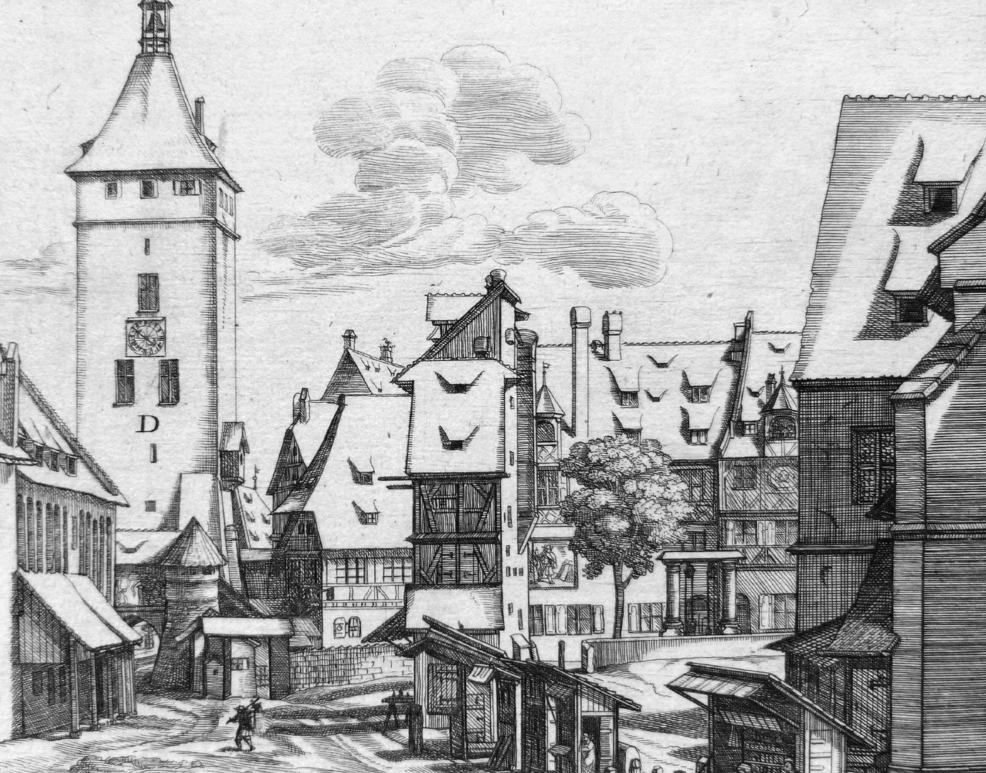 """""""Urbis Norimbergensis Insigniorum Templorum…"""" House of the Teutonic Order and St. Jacob-Church Image section with buildings between the White Tower and St. Jacob´s"""