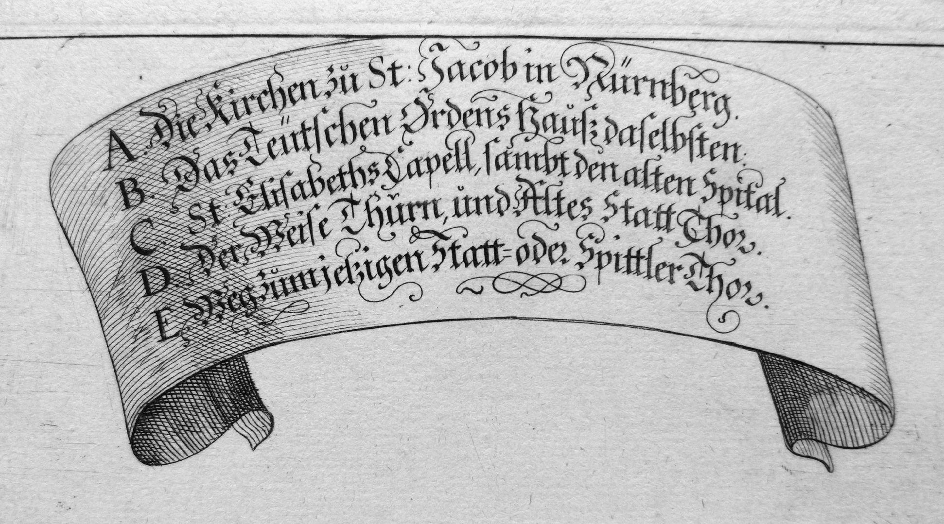 """Urbis Norimbergensis Insigniorum Templorum…"" House of the Teutonic Order and St. Jacob-Church Image legend"