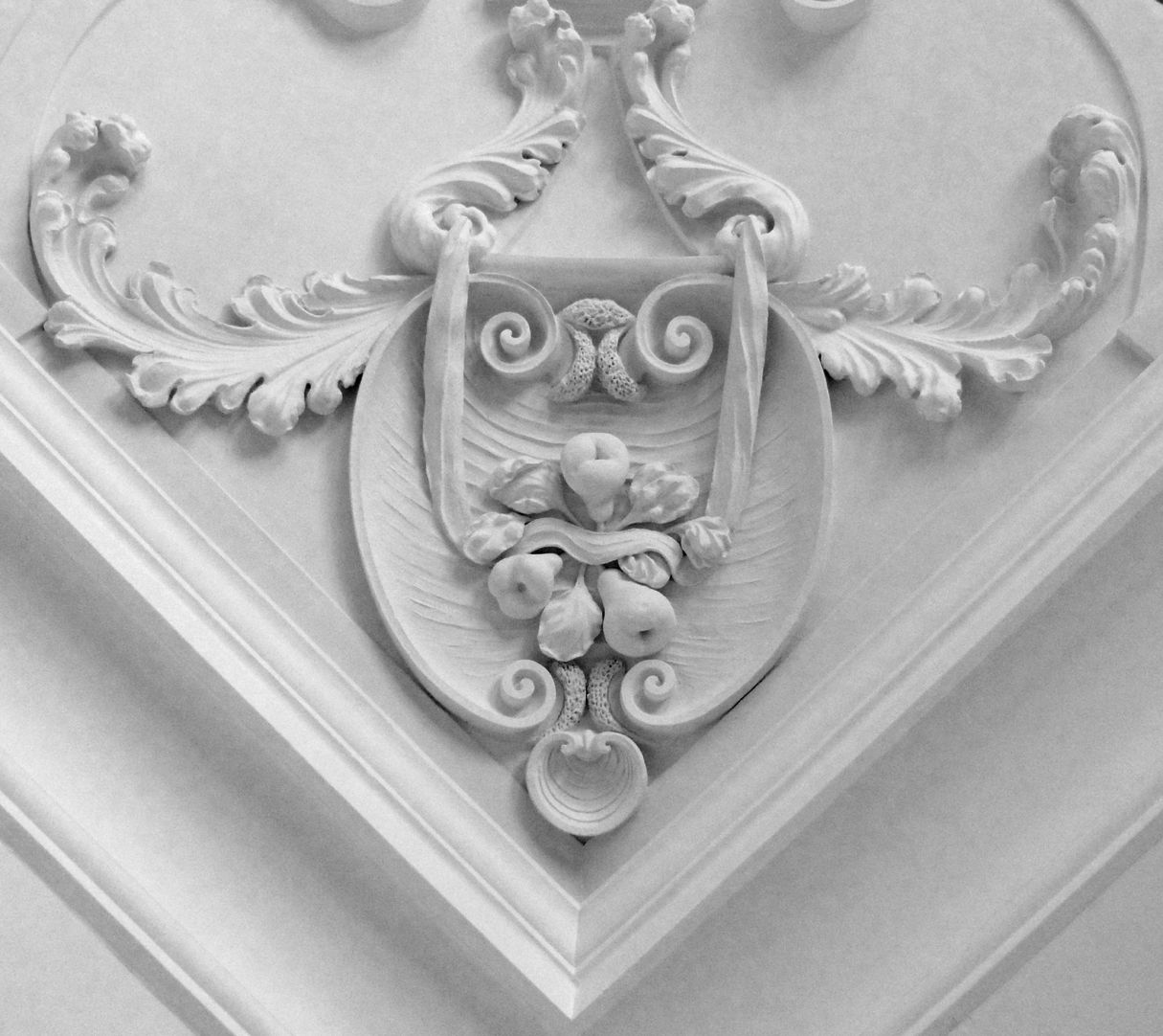 Stucco ceiling from the garden hall of the former Merkel estate Detail of the south west part of the ceiling