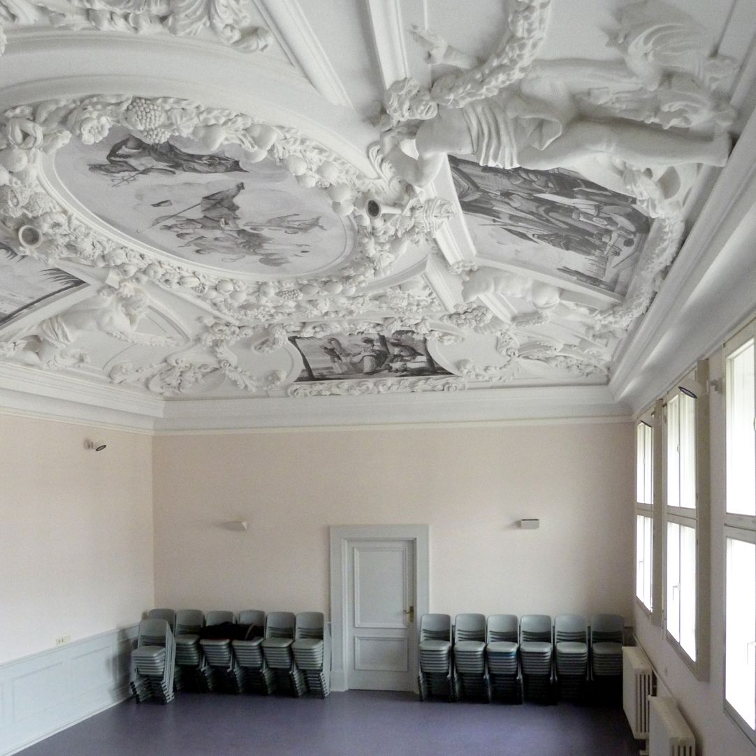 Stucco ceiling from the garden hall of the former Merkel estate View towards the west wall