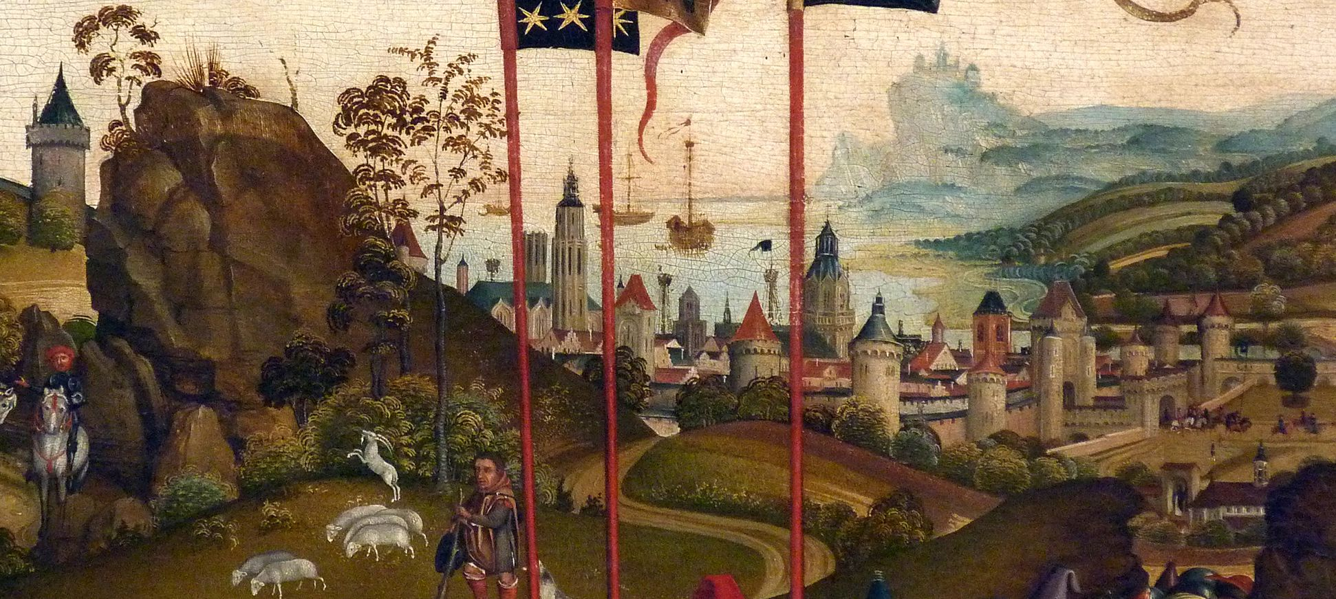 Altar of the Three Kings Background with the city in the countryside – following the ideal the countryside is not typically Franconian but Dutch
