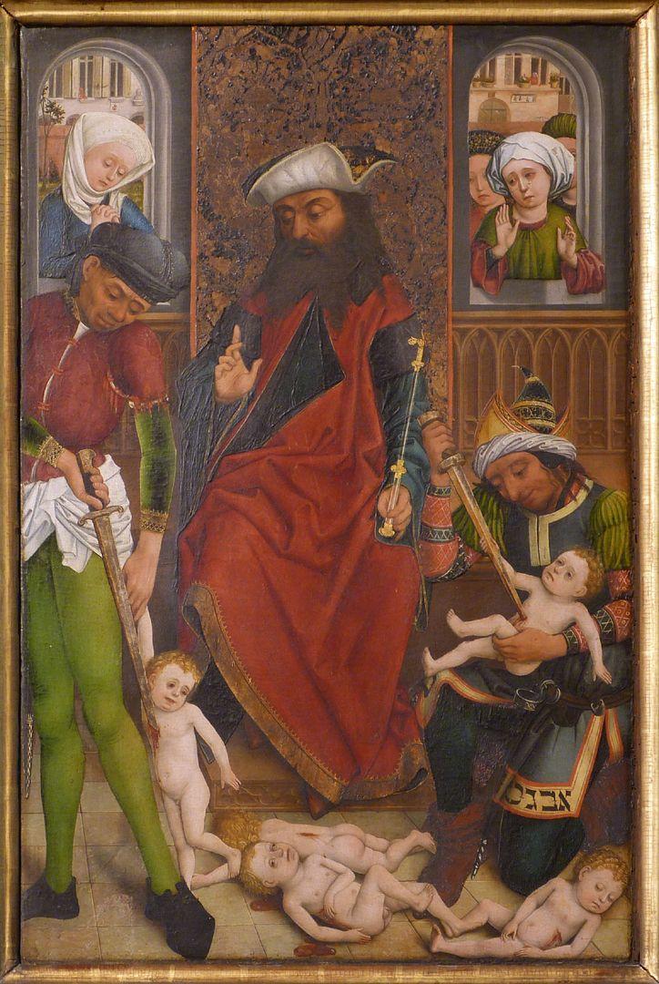 Altar of the Three Kings rechter Seitenflügel, unten: Bethlehemitischer Kindermord, Streiflicht