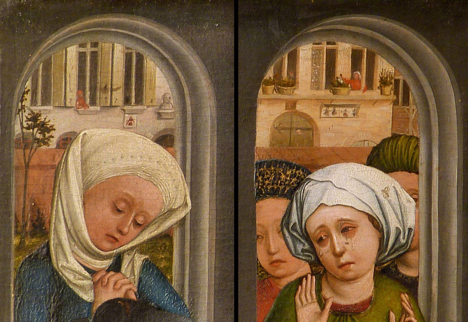 Altar of the Three Kings rechter Seitenflügel, unten: Bethlehemitischer Kindermord, Detailansicht der beiden Bogenöffnungen