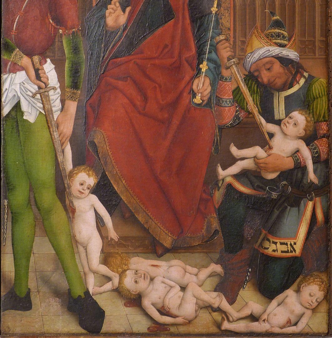 Altar of the Three Kings rechter Seitenflügel, unten: Bethlehemitischer Kindermord, Detailansicht
