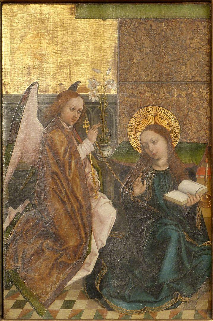 Altar of the Three Kings linker Seitenflügel, oben: Verkündigung, Streiflicht