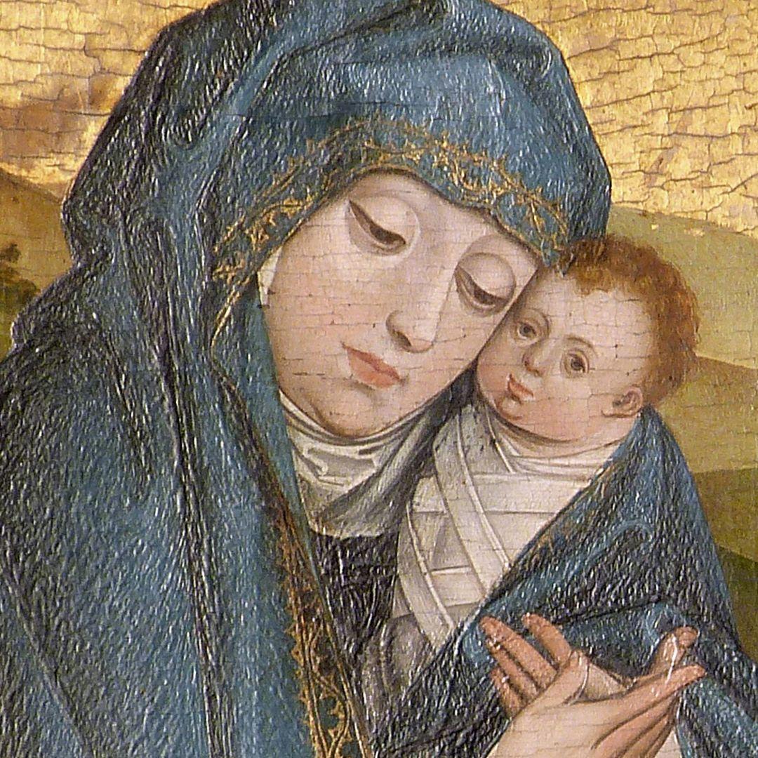Altar of the Three Kings rechter Seitenflügel, oben: Flucht nach Ägypten, Maria mit Jesuskind