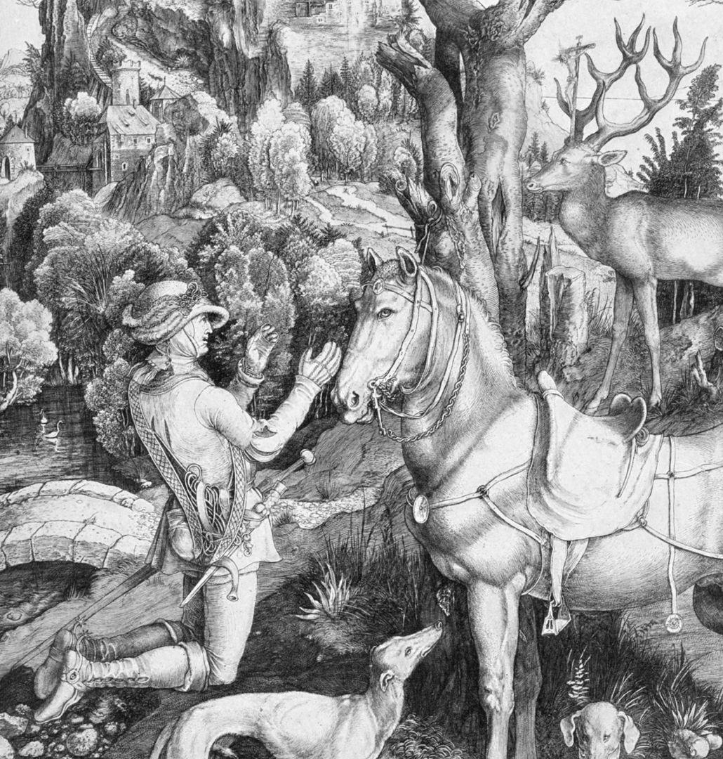 St. Eustachius Placidus (Eustachius) is kneeling in front of the stag