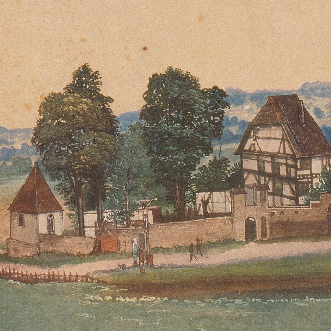 Church and churchyard of St. John´s near Nuremberg On the left the building preceding the Holzschuher Chapel (first consecrated in 1395, the second time in 1427) on the right the vicarage of St. John´s, in the foreground the cross with Mary and John of 1490, then outside the cemetery)