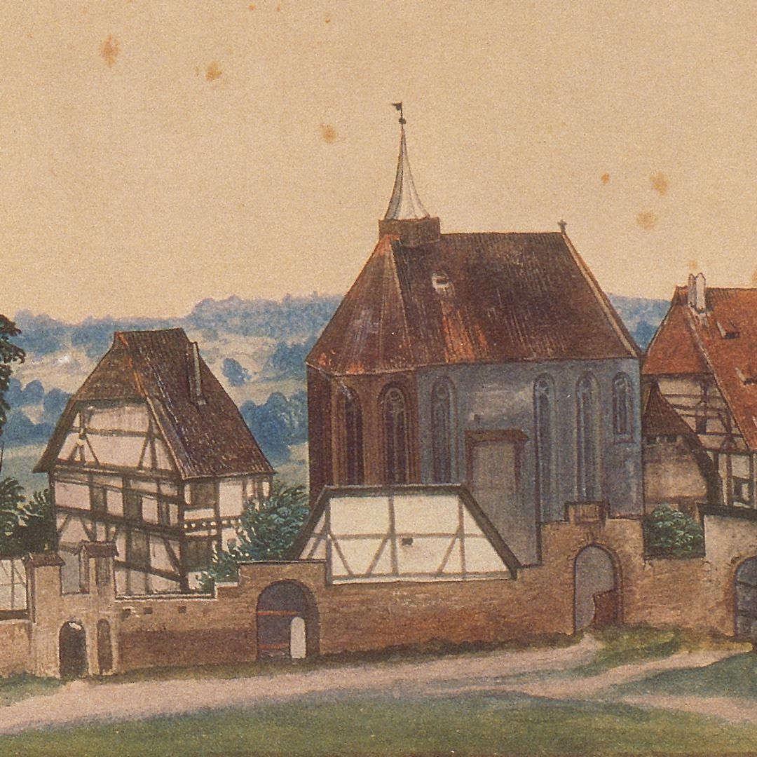 Church and churchyard of St. John´s near Nuremberg St. John´s Church with the hospital connected to it. Left of the apse the residential building of the priest, in front of the apse the building preceding today´s Steinschreiberhaus (stone carver´s house)