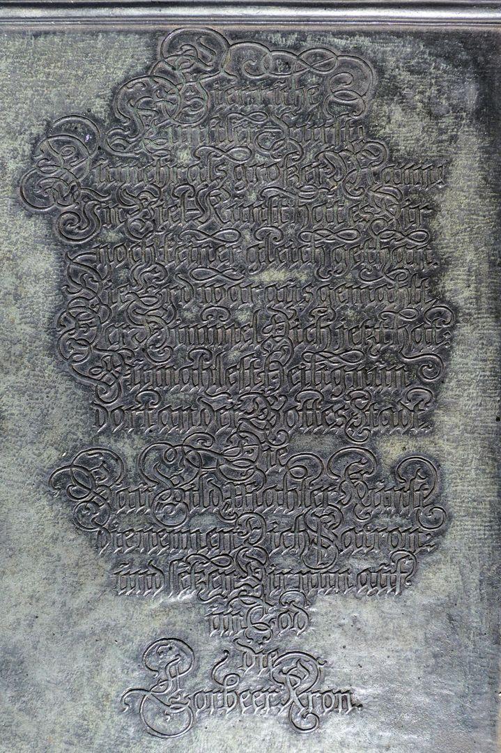 Albrecht Dürer Grabstätte Deutsche Inschrift, Stiftung von Joachim von Sandrart 1681