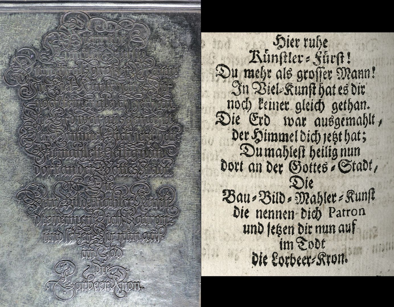 "Albrecht Dürer Grabstätte Deutsche Inschrift und Auszug aus Joh. Martin Trechsels, Großkopf genannt: ""Verneuertes Gedächtnis des nürnbergischen Johannis Kirch Hof ..."" , Franckf. & Leipzig 1735"