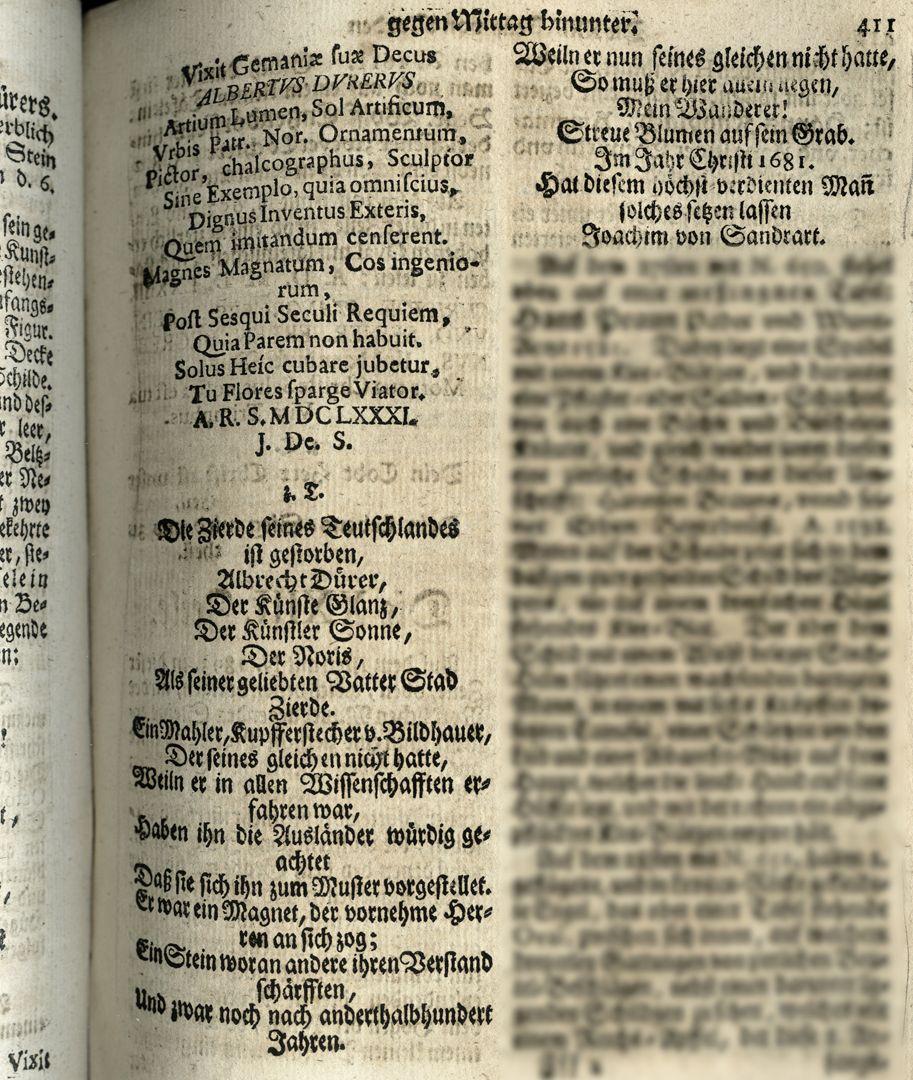 """Albrecht Dürer Grabstätte Auszug aus Joh. Martin Trechsels, Großkopf genannt: """"Verneuertes Gedächtnis des nürnbergischen Johannis Kirch Hof ..."""" , Franckf. & Leipzig 1735"""