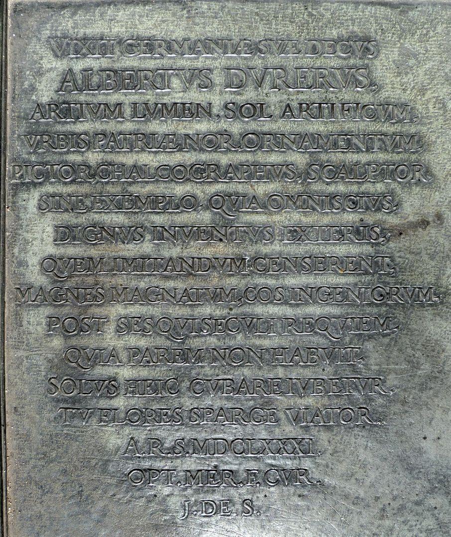Albrecht Dürer Grabstätte Lateinische Inschrift, Stiftung von Joachim von Sandrart 1681