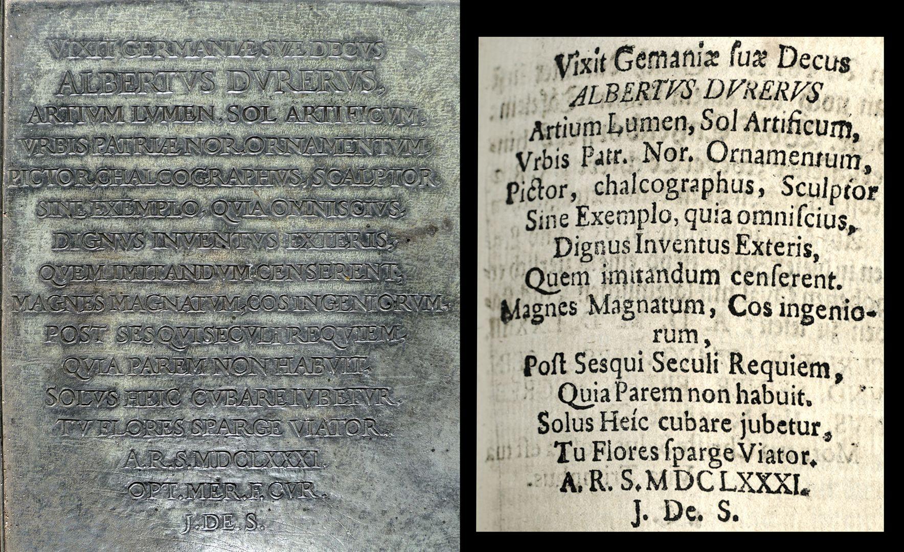 "Albrecht Dürer Grabstätte Lateinische Inschrift und Auszug aus Joh. Martin Trechsels, Großkopf genannt: ""Verneuertes Gedächtnis des nürnbergischen Johannis Kirch Hof ..."" , Franckf. & Leipzig 1735"