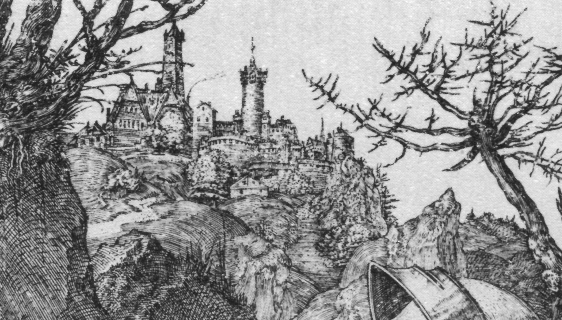Knight, Death and the Devil Detail with castle