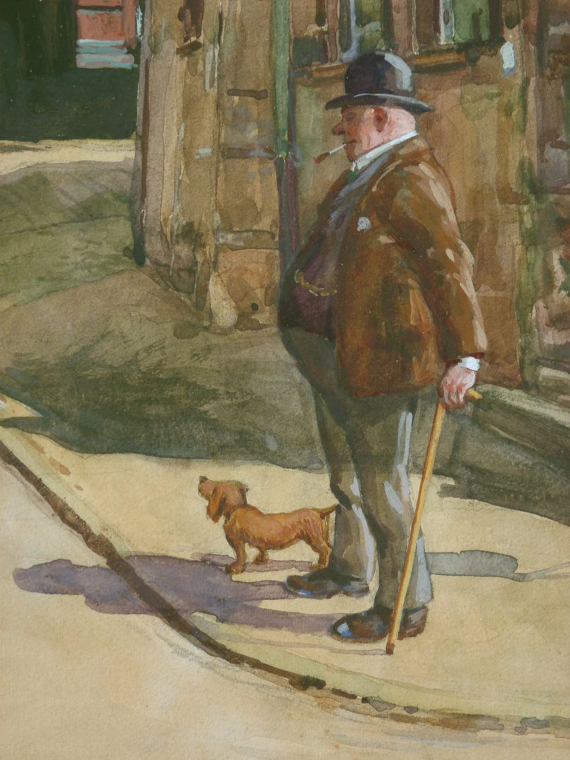 Street scene in Nuremberg Detail: passer-by