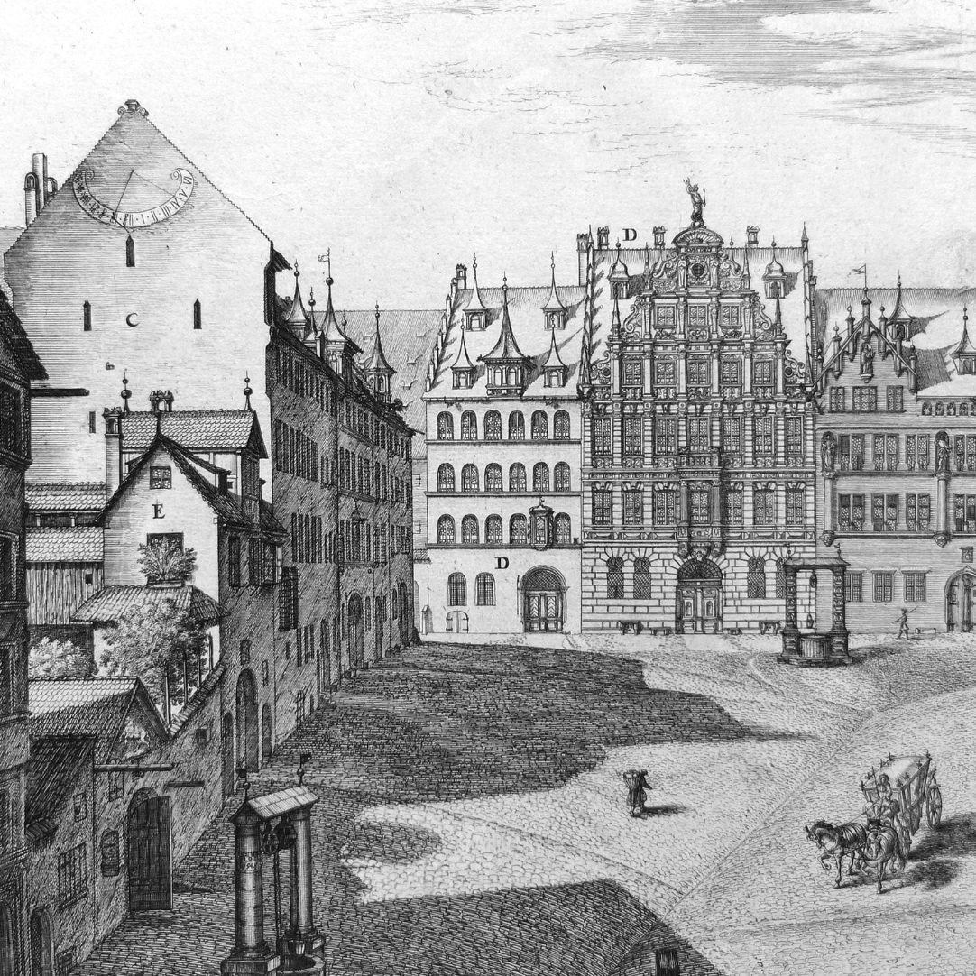 """""""Urbis Norimbergensis Insigniorum Templorum…"""" Egidien-Church and square C: Imhoff Houses, D:Peller House, E: the old Tetzel Court"""