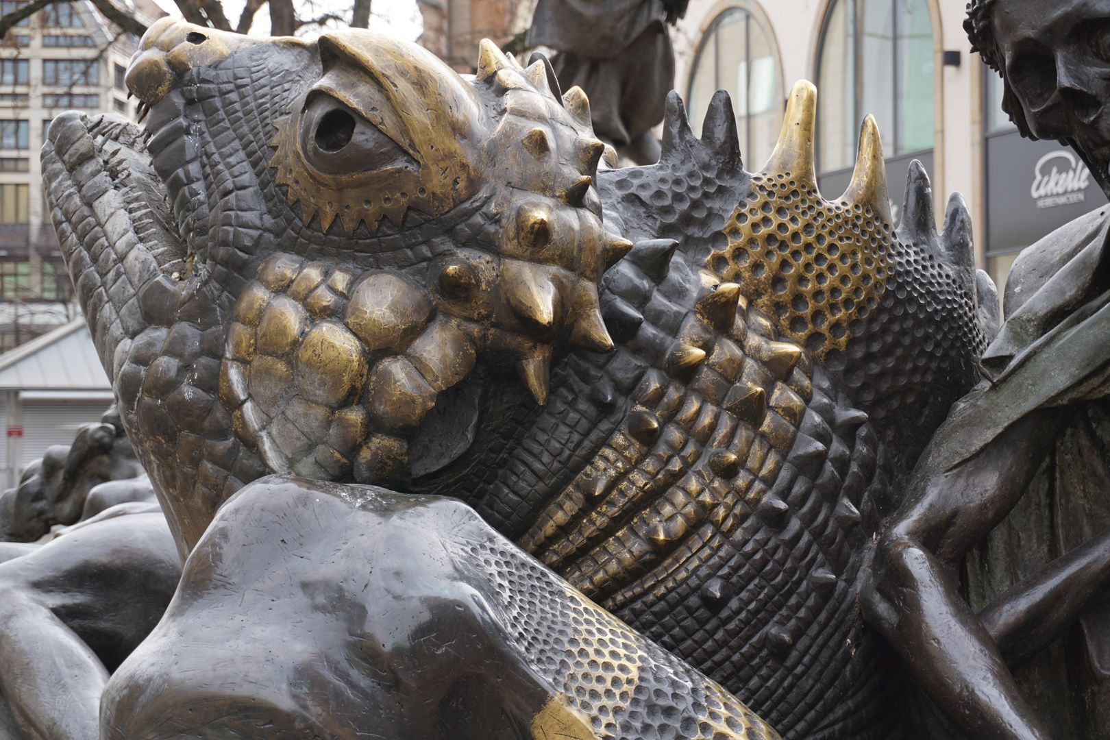 "Marriage carousel/ Hans Sachs Fountain Head of the ""Hell Dragon""."