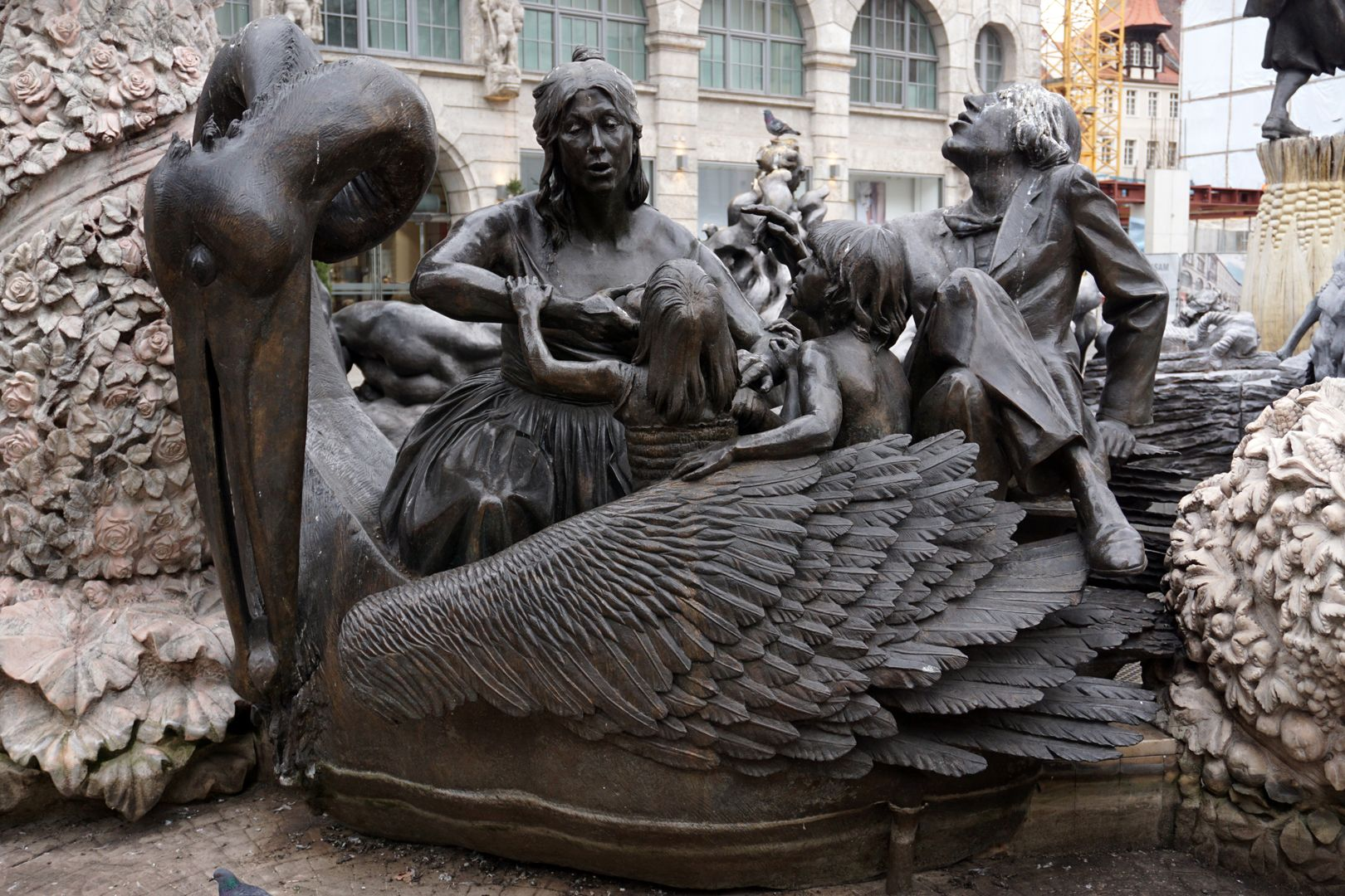 """Marriage carousel/ Hans Sachs Fountain """"Pelican Carriage"""", Pelican tearing its bleeding heart out of its body with its large beak. """"Among the early Christians, the pelican was considered the symbol of a mother's love""""."""