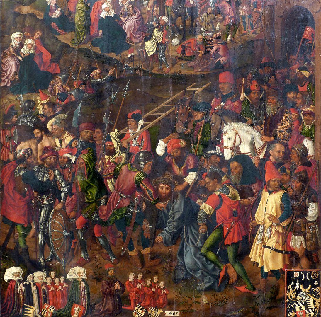 Epitaph für Barbara Tucher Christus im Gemenge, unten links Stifterfiguren Hans VI. Tucher mit Ehefrauen Barbara Ebner und Ursula Harsdörffer samt Kindern