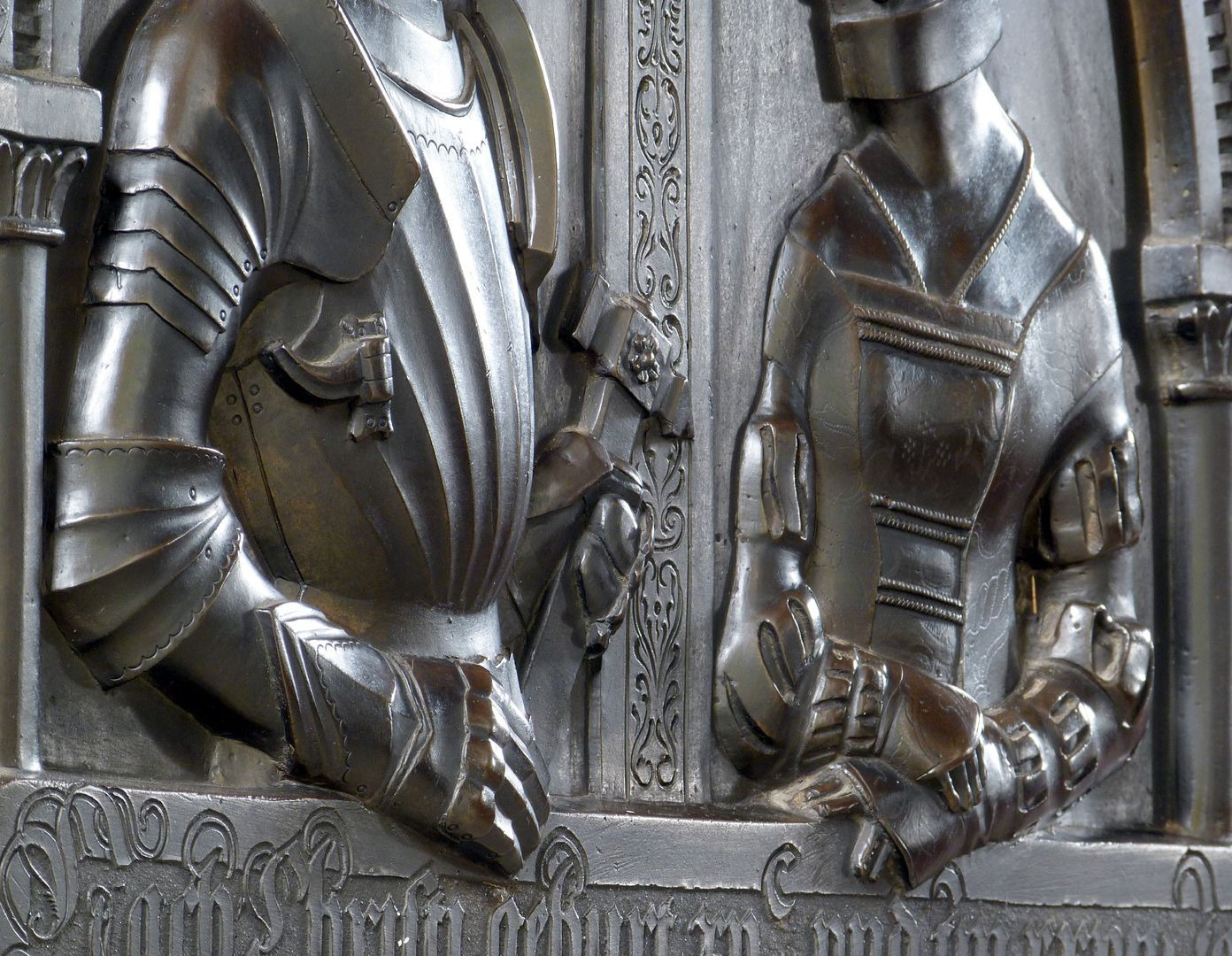 Epitaph of Walburga of Schaumberg and her consort, Sebastian Distinct diagonal view with the reliefs of the upper body