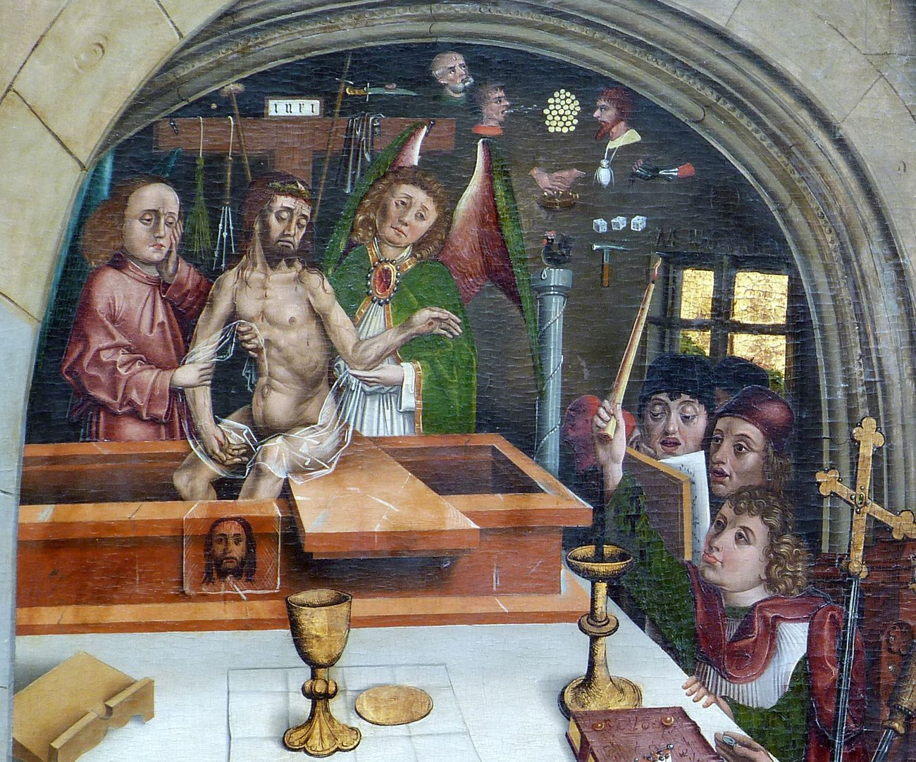 Epitaph of Hans Mayer (gest. 21.8.1473) and his spouese Kunigunde, neé Sternecker (died. 23. March 1450) Christ appears from his grave, held by angels