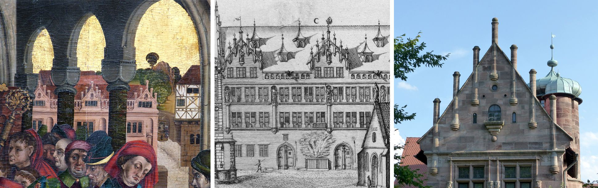 Epitaph of Hans Mayer (gest. 21.8.1473) and his spouese Kunigunde, neé Sternecker (died. 23. March 1450) left: view to the Groland premises (Egidienberg); centre: Graff´s representation of the same motif (1682), right: gable of the little Tucher palace (1533 - 1544)
