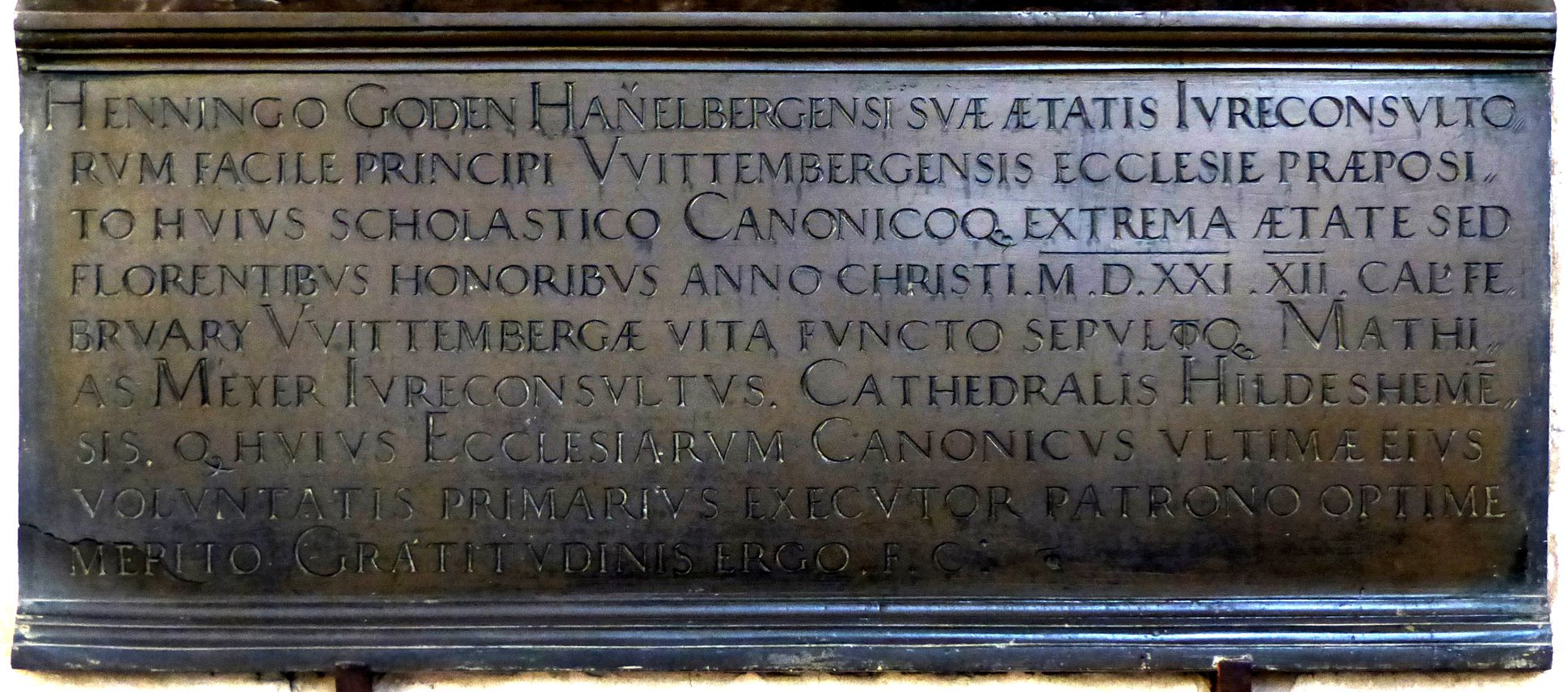 Epitaph of Provost Henning Göden (died 1521) Lower third with main inscription