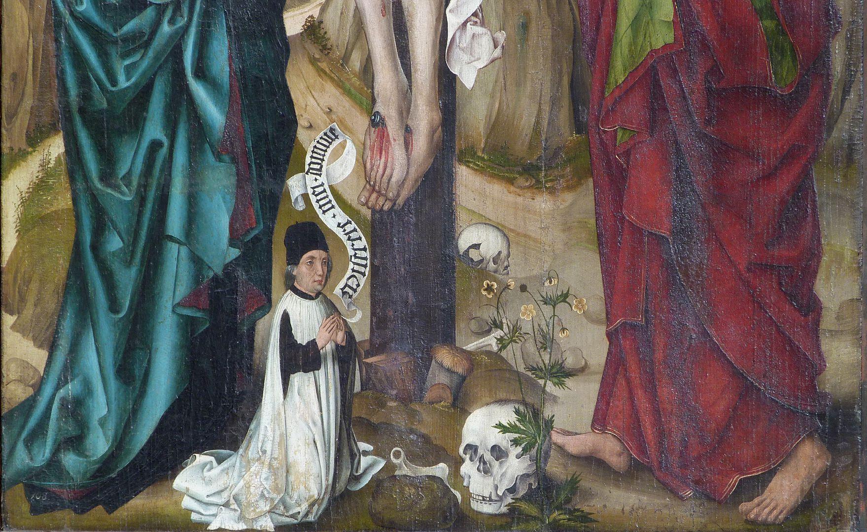 Kreuzigung Christi unteres Bilddrittel mit Stifterfigur und Spruchband: Miserere mei domine = Herr, erbarme dich