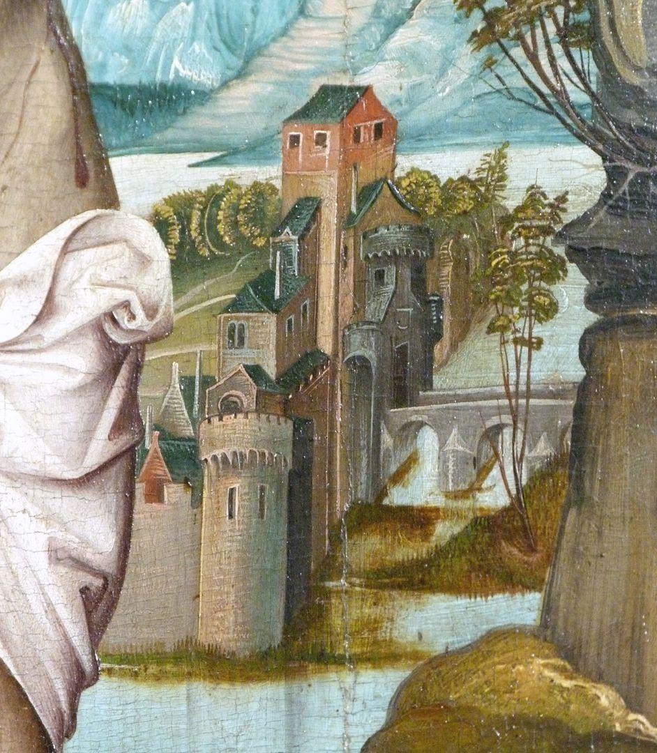 Kreuzigung Christi rechte Bildhälfte, Detail des Bildhintergrundes mit Architekturen