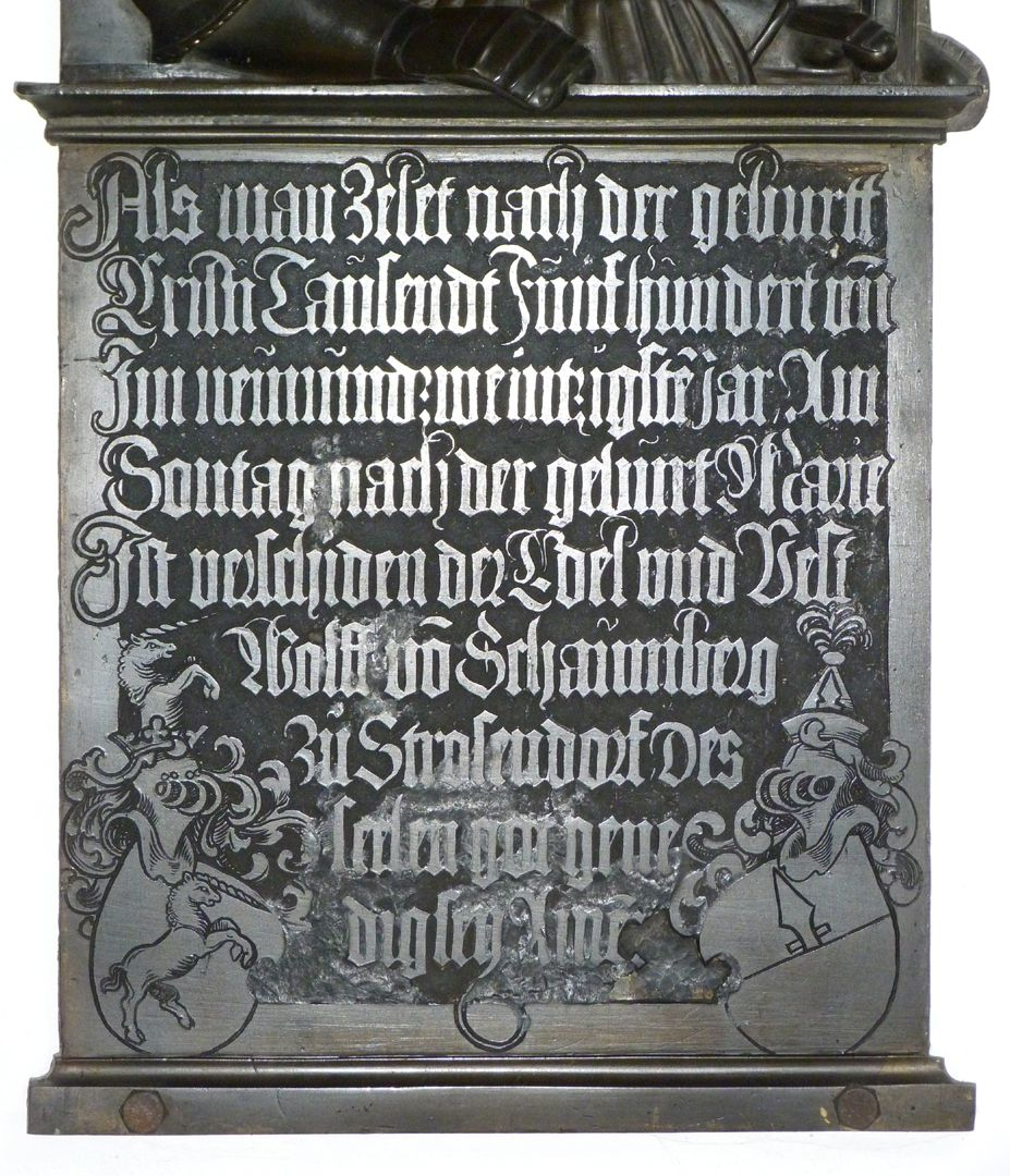 Epitaph of Wolf of Schaumberg (Lichtenfels) Inscription plate
