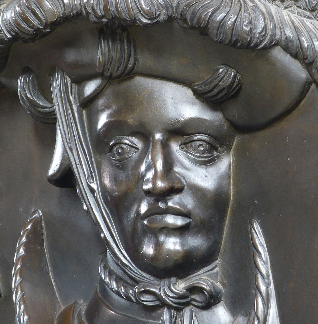 Epitaph of Wolf of Schaumberg (Lichtenfels) Face, front view, detail, note the features typically for Veit Stoss