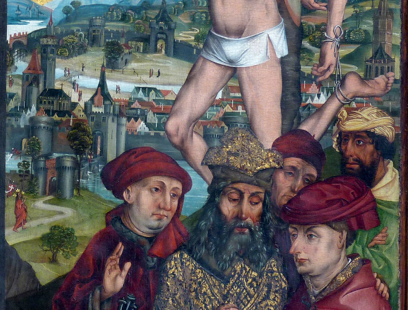 Epitaph for Georg Keyper Detail Gismas with group of men, on the left edge Christ Resurrected on his way to the Imperial City