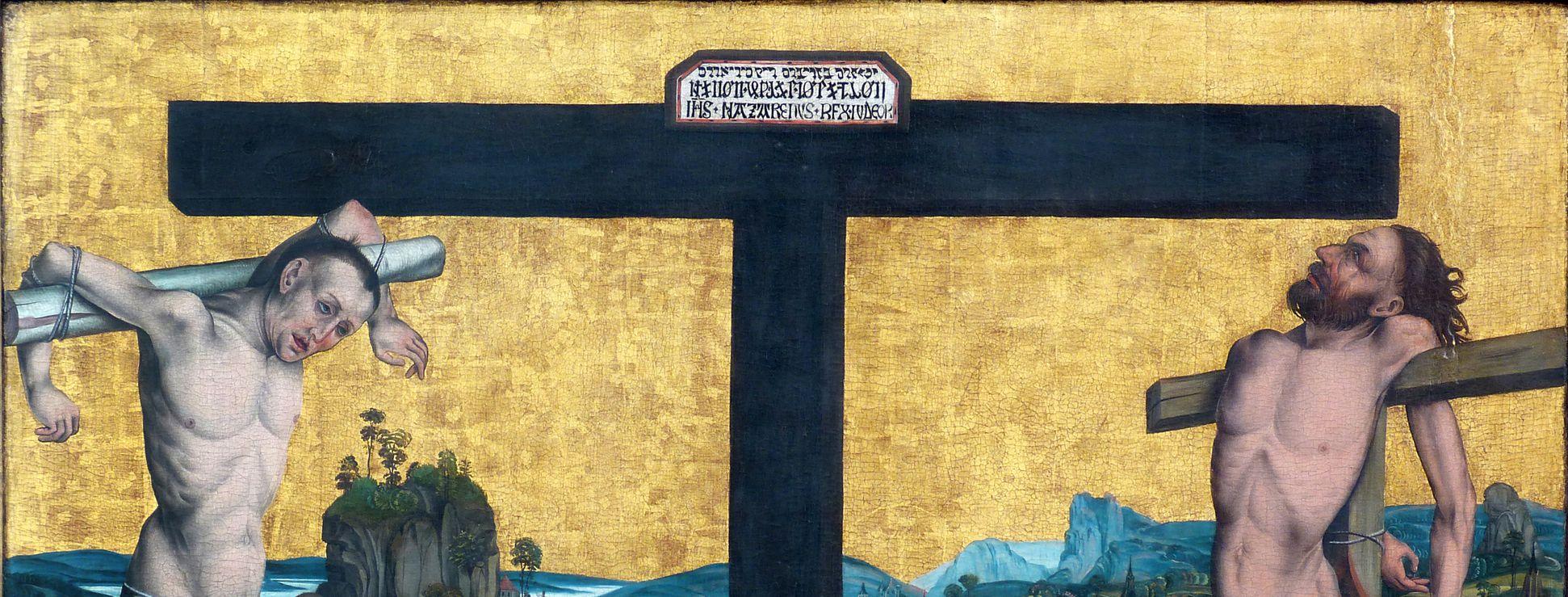 Epitaph for Georg Keyper Cross with inscription, on the left Dismas, on the right Gismas