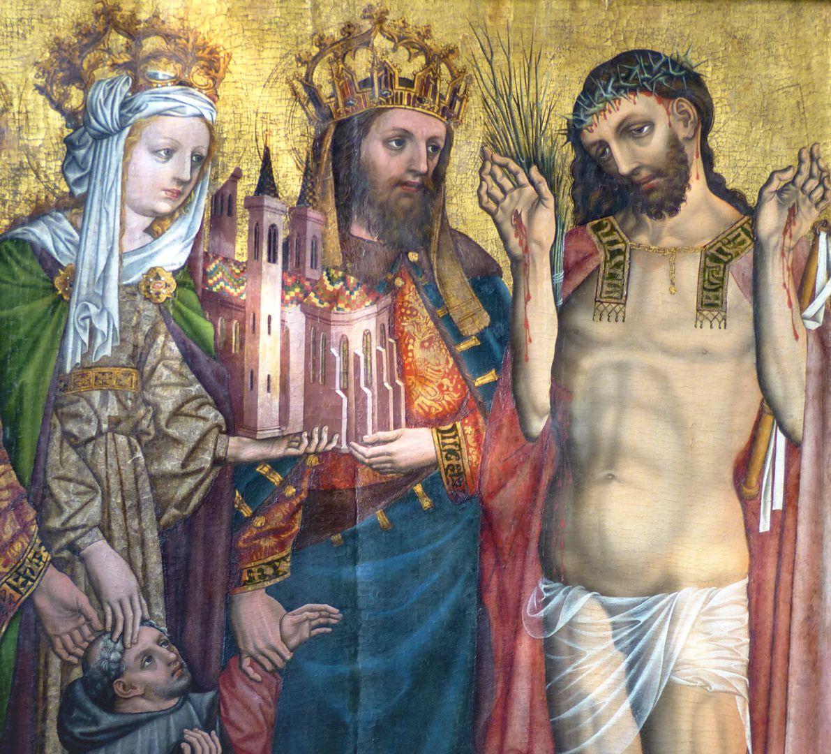 Epitaph für Johannes von Ehenheim Detail des Kaiserpaares mit Dommodell und Christus