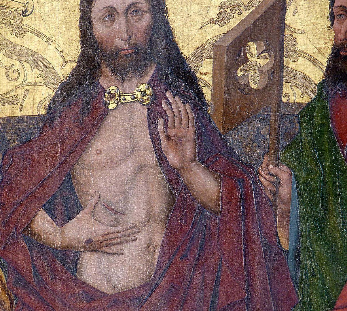 Schmerzensmann zwischen den Heiligen Philippus und Jakobus Minor Der Auferstandene zeigt seine Wundmale